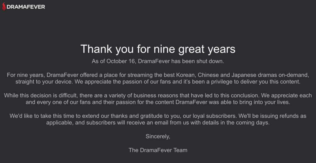 DramaFever canceled